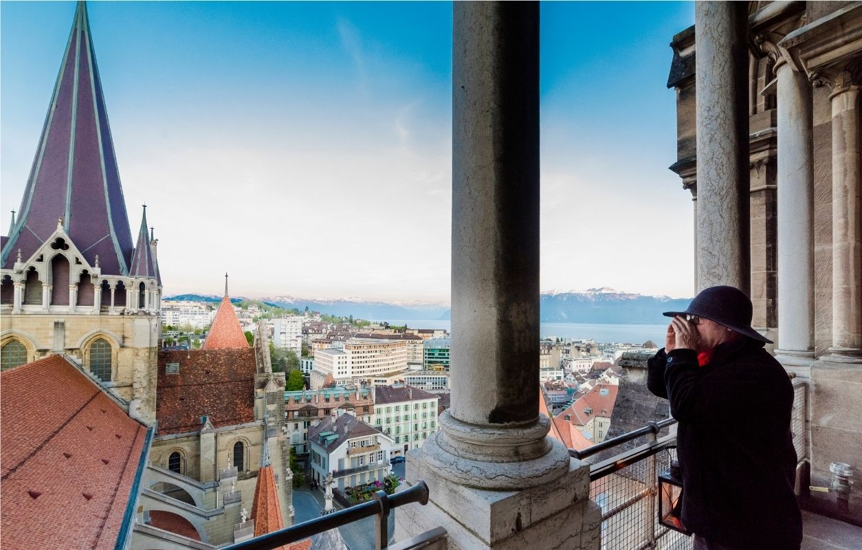 visit to lausanne cathedral with view of the swiss city